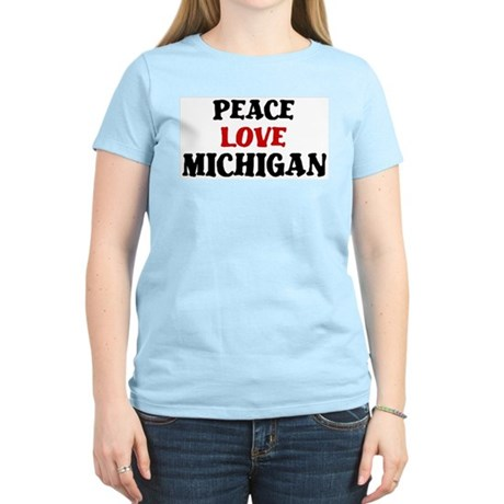 Peace Love Michigan Women's Light T-Shirt