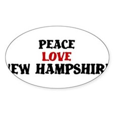 Peace Love New Hampshire Oval Sticker (10 pk)