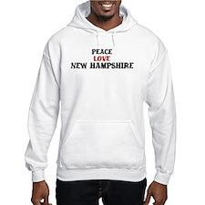 Peace Love New Hampshire Hoodie Sweatshirt
