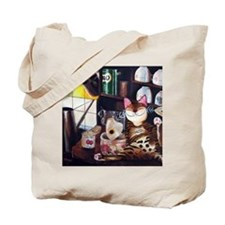 cat art coffee shop Tote Bag