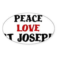 Peace Love St Joseph Oval Decal