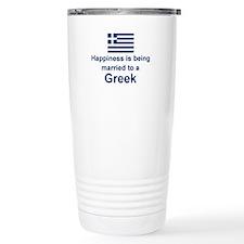 Happily Married To A Greek Travel Mug