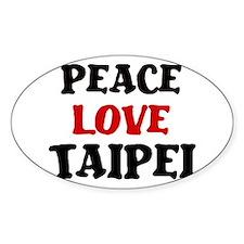 Peace Love Taipei Oval Decal
