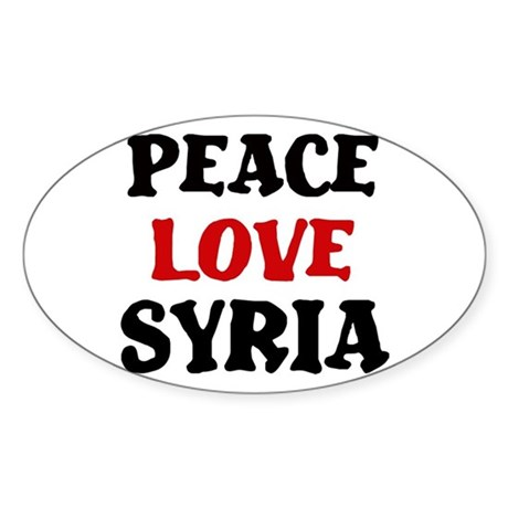 Peace Love Syria Oval Sticker