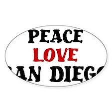 Peace Love San Diego Oval Sticker