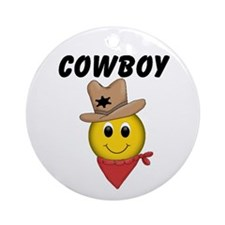 Cowboy Smiley Ornament (Round)