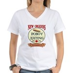 New Orleans Poboy Eating Cham Women's V-Neck T-Shi