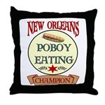 New Orleans Poboy Eating Cham Throw Pillow