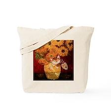 cat art sunflowers Van Gogh Tote Bag