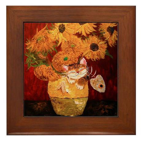 cat art sunflowers Van Gogh Framed Tile