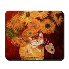 cat art sunflowers Van Gogh Mousepad