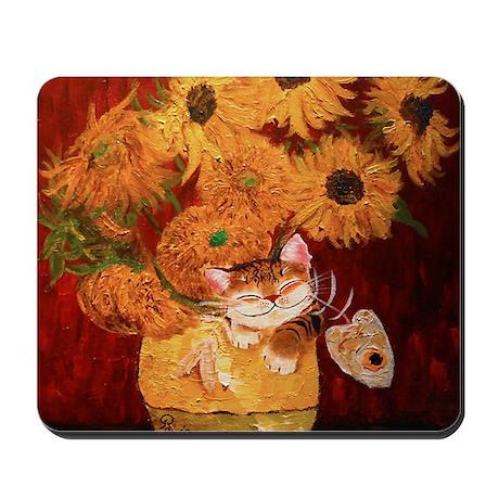 cat art sunflowers Van Gogh Mousepad
