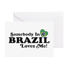 Somebody In Brazil Loves Me Greeting Cards (Pk of