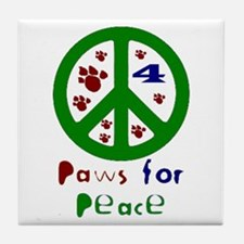 Paws For Peace Green Tile Coaster