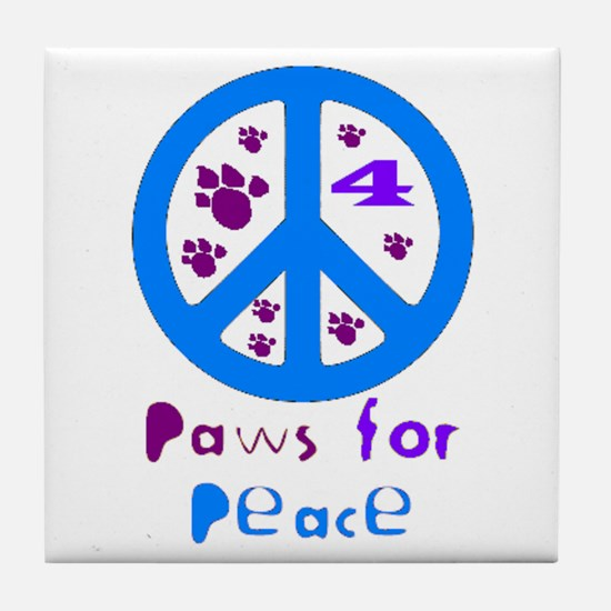 Paws for Peace Blue Tile Coaster