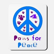 Paws for Peace Blue Mousepad