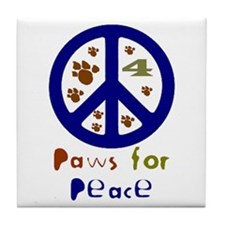 Paws for Peace Navy Tile Coaster