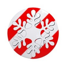 Red & White Peppermint Striped Snowflake Ornament
