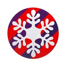 Red & Purple Striped Snowflake Ornament