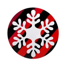 Red Gradient Striped Snowflake Ornament