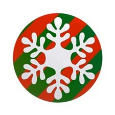 Green & Red Striped Snowflake Ornament