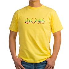 Yellow Peace, Love & cycling T-Shirt