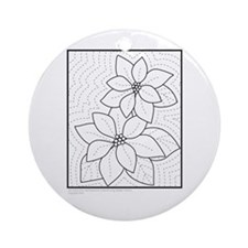 Cute Poinsettia quilt Ornament (Round)