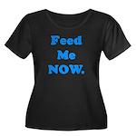 Feed Me Now Women's Plus Size Scoop Neck Dark T-Sh