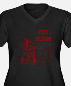 The Red Queen Women's Plus Size V-Neck Dark T-Shir