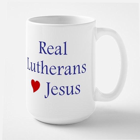 Real Lutherans Love Jesus mug Large Mug