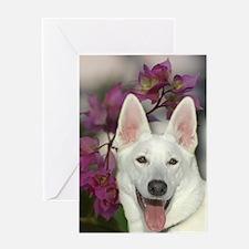 Cool White german shepherd Greeting Card