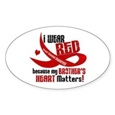 Red For My Brother Heart Disease Oval Decal