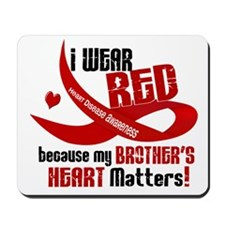 Red For My Brother Heart Disease Mousepad