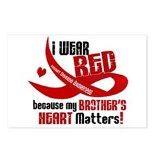 Red For My Brother Heart Disease Postcards (Packag