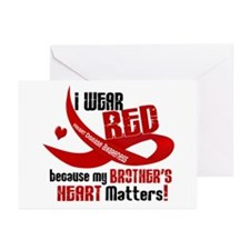 Red For My Brother Heart Disease Greeting Cards (P