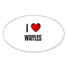 I LOVE WAFFLES Oval Decal