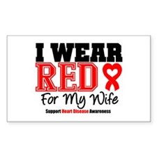 I Wear Red Wife Rectangle Decal