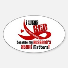 Red For My Husband Heart Disease Oval Decal