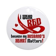 Red For My Husband Heart Disease Ornament (Round)