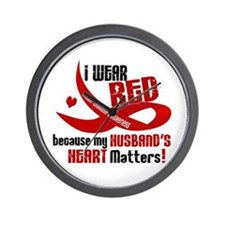 Red For My Husband Heart Disease Wall Clock