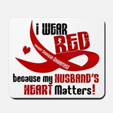 Red For My Husband Heart Disease Mousepad