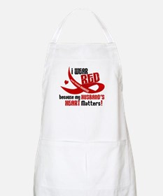 Red For My Husband Heart Disease BBQ Apron