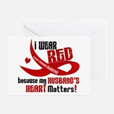 Red For My Husband Heart Disease Greeting Card