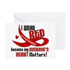 Red For My Husband Heart Disease Greeting Cards (P