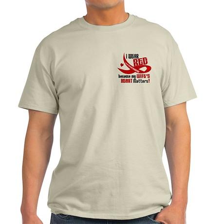 Red For My Wife Heart Disease Shirt Light T-Shirt