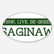 Green SAGINAW Oval Decal
