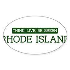 Green RHODE ISLAND Oval Decal