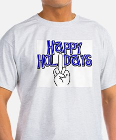 happy holidays middle finger Hanukkah Ash Grey T-S