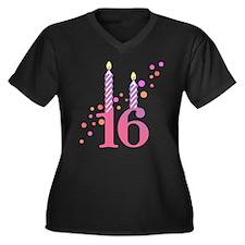 16th Birthday Candles Women's Plus Size V-Neck Dar