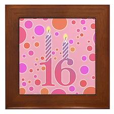16th Birthday Candles Framed Tile